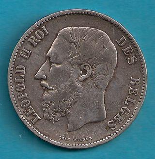 Belgium 1867 5 Francs Scarce photo