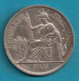 France Indochine 1903 A Piastre De Commerce Vf See photo