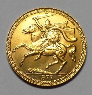 1977 Isle Of Man Half Gold Sovereign 1c Start.  1174 Agw photo