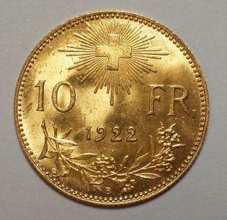 1922 - B Switzerland 10 Franc Gold 1c Start.  0933 Agw photo