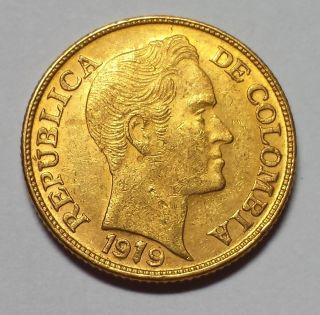 1919 Colombia 5 Peso Gold 1c Start photo