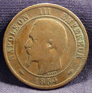 10 Centimes,  1854 (a) The 2nd Empire Of France,  Napoleon Iii Emperor - Bronze photo