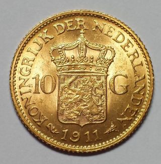1911 Netherlands 10 Guilder Gold 1c Start.  1947 Agw photo