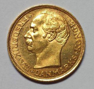 1908 Denmark 10 Kroner Gold 1c Start.  1296 Agw photo