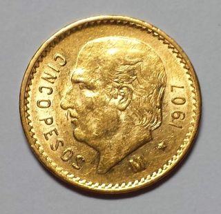 1907 Mexico 5 Peso Gold 1c Start photo