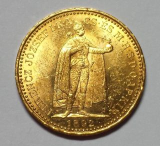 1892 Hungary 20 Korona Gold 1c Start.  1960 Agw photo