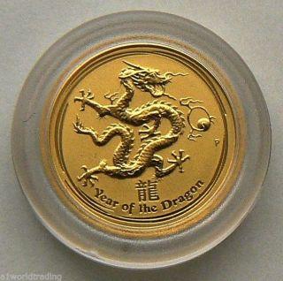 2012 1/20 Oz Lunar Dragon Gold Coin Unc In Capsule photo
