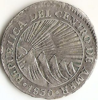 Central American Republic 1830 T - F,  1 Real Silver Coin,  Vf Or So,  Very Scarce photo