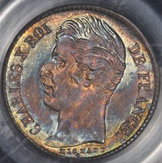 1829 - W Pcgs Ms65 France 1/4 Franc Color Toning photo