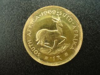 1969 South Africa 1 Rand Gold Coin photo