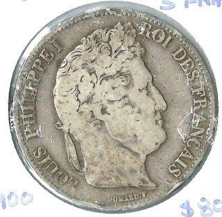 France Silver 5 Francs 1842 - W photo