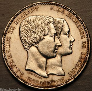 Belgium Silver 5 Francs 1853 (marriage Of Duke And Duchess Of Brabant) Unc photo