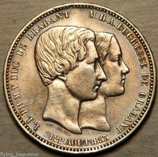 Belgium Silver 5 Francs 1853 (leopold I Marriage Of Duke And Duchess Of Brabant) photo