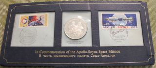 Commemorative Sterling Silver Coin & Stamps Apollo - Soyuz Space Mission 1975 photo