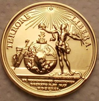 Medal Gold Plated Terrore Libera Liberty Coin Illuminati Masonry Constitution photo