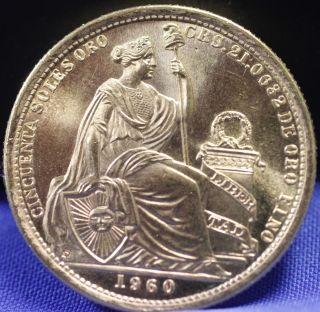 Peru 1960 Cincuenta Soles Oro 50 Soles Unc Gold Coin Rare photo