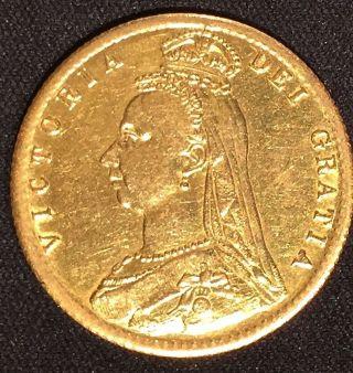 1892 Gold Great Britain Queen Victoria Shield Half 1/2 Sovereign photo