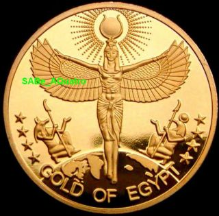 Gift Gold Of Egypt Coin Egyptian Woman Isis Goddess Anubis Horus Zodiac Sun God photo
