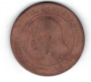 1854 - B 10 Centimes France Napoleon Iii (rouen) Coin photo