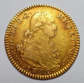 1802/1 - Fa - M Spain 2 Escudo Gold Doubloon.  1904 Agw photo