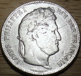 1833 France Silver 5 Francs - Large Coin - Look photo