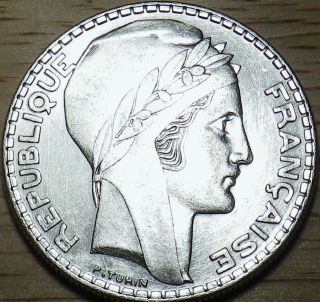 1938 France Silver 20 Francs - Large Bu Coin - Look photo