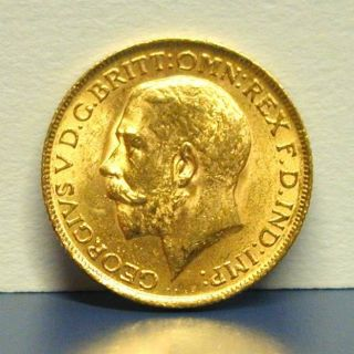 1912 Gold Coin Sovereign Great Britain King St.  George V Slaying Dragon 1/4 Oz photo