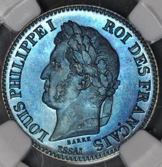 1842 Ngc Ms65bn France 2 Centimes Bronze Essai Maz - 1116 Electric Blue photo