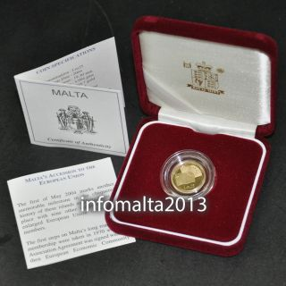 2004 Malta Eu Accession Lm25 Gold Coin Proof And Certificate photo