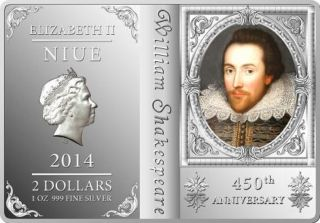 2014 450th Anniversary Of William Shakespeare - 1 Oz Silver Proof Coin photo