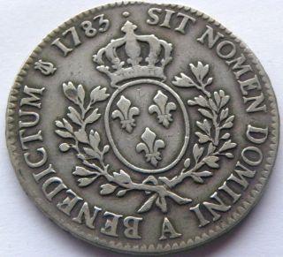 France,  Ecu 1783 Louis Xvi In F/vf - photo