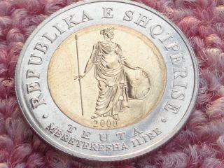 Albania 2000,  100 Leke,  Teuta,  Ancient Illyrian Queen,  Bi Metallic Coin.  Gem,  Unc photo