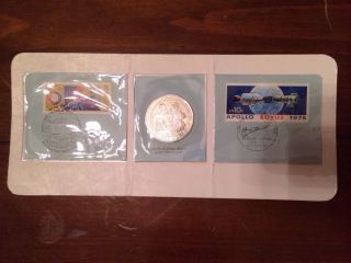 Franklin Sterling Silver Apollo Soyuz 1975 Coin & Us & Russian Stamps photo