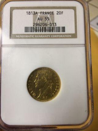 1813a France 20 Francs Gold Au 55 Ngc photo