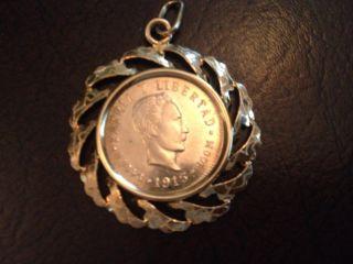 Rare Gold Coin 5 Cinco Pesos With Bezel photo