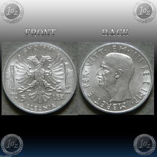 Albania /italian Occupation 5 Lek 1939 Silver Coin (km 33) Vittorio Emanuele photo