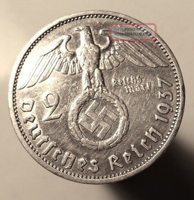 Xxrare Wwii German Third Reich Silver 2 Mark 1937 - F Xf Nazi Coin Km 93 Germany photo