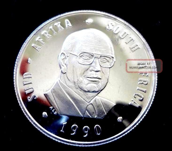 SOUTH AFRICA PROOF 1 RAND COIN 1990 YEAR KM#141 PW BOTHA PRESIDENT
