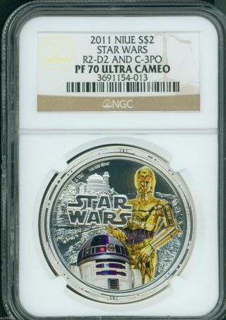 2011 $2 Niue Star Wars Rebel Alliance 1 Oz.  Silver Ngc Pf70 R2 - D2 & C - 3po Pr70 photo