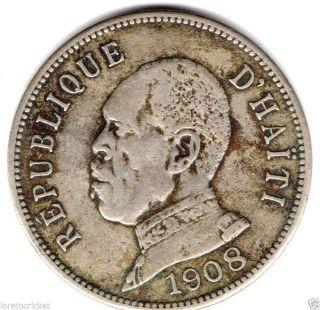 Haiti Strong Vf 50 Centimes 1908 Scarce Coin photo