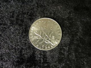 France 1964 Seed Sower Franc Vintage French Dollar Coin - Flip photo