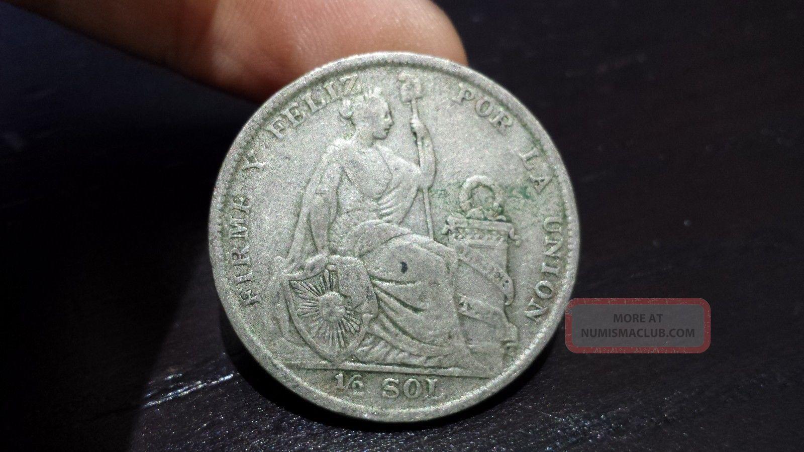 1927 Peru Half Unsol Very Low Km 216 Silver Coin South America photo