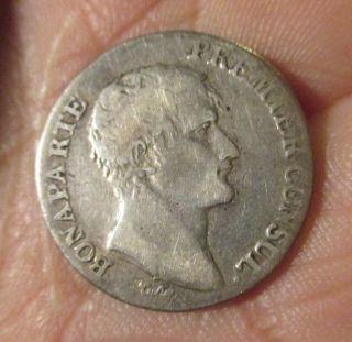 Silver Coin Republique Francaise Napoleon 1 Franc L ' An 12 F/vf photo