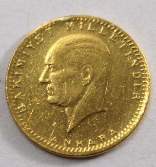 1923/42 - 50 Kurush Turkey Gold Coin (. 917) - 14.  5mm 2g Km 859 - 71470 photo