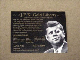 John F.  Kennedy 2014 Gold Burundi - G500f - 1st Day Of Issue - Reverse Proof - Pf70 - 57 photo
