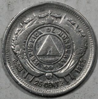 1888 Honduras Silver 25 Centavos Coin photo