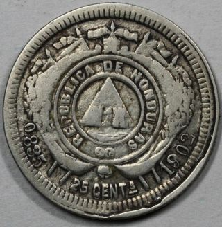 1902 Honduras Silver 25 Centavos Coin photo