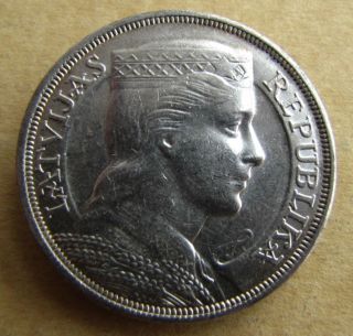 Latvia Silver Coin 5 Lati 1932 Latvian (3) photo