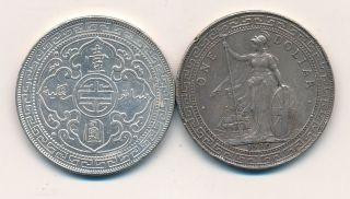 China/gb 1902 (b) & 1930 (b) Silver Trade Dollars - Vf/gvf,  Edge Bumps - L@@k photo
