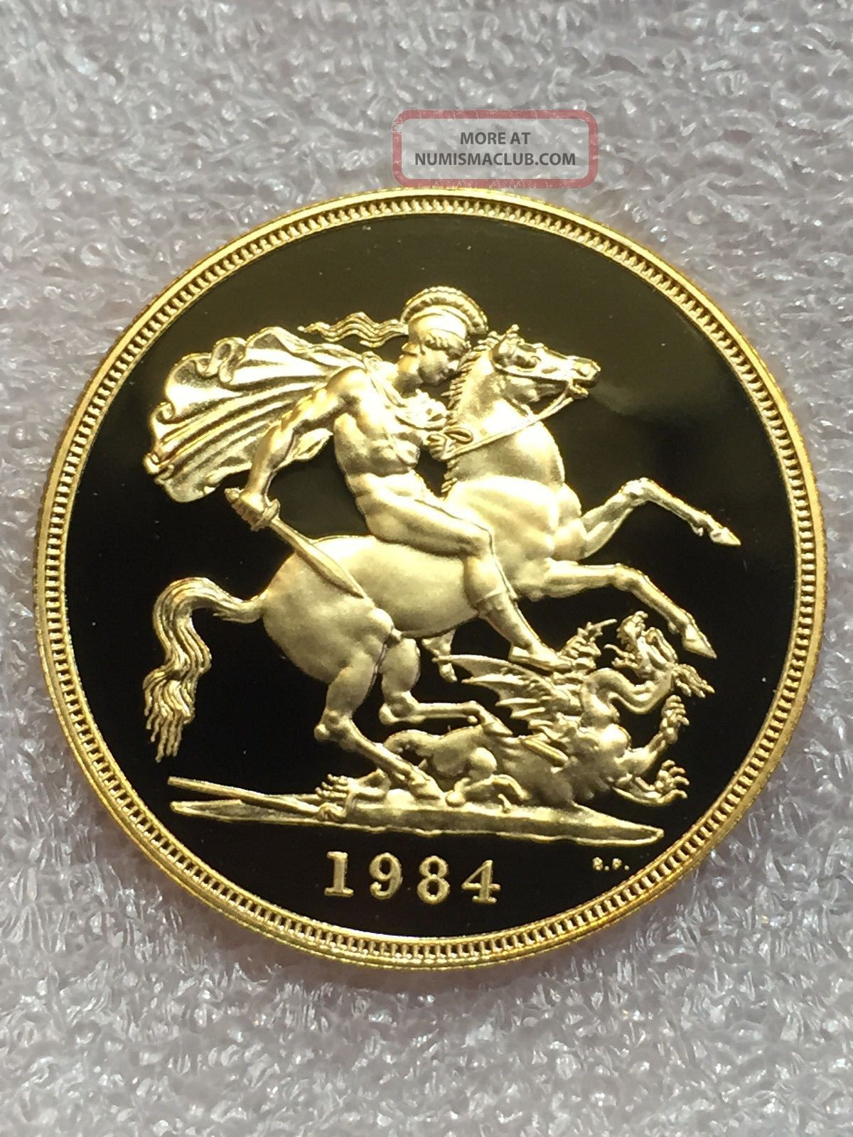 1984 United Kingdom Proof Five 5 Pound Sovereign Gold Coin